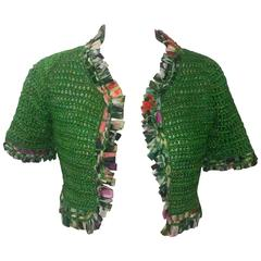 Oscar de la Renta Hand Knit Green Silk Bolero with Ribbon Trim