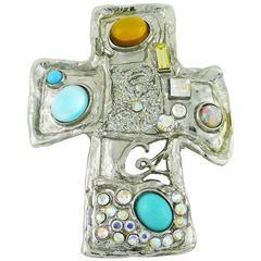 Christian Lacroix Vintage Jewelled Cross Brooch Pendant
