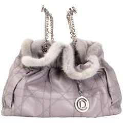 Christian Dior Grey Shoulder Bag with Fur