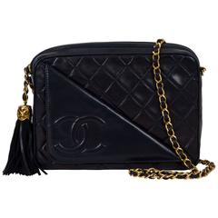 Chanel Navy Lambskin Quilted Tassel Camera Bag