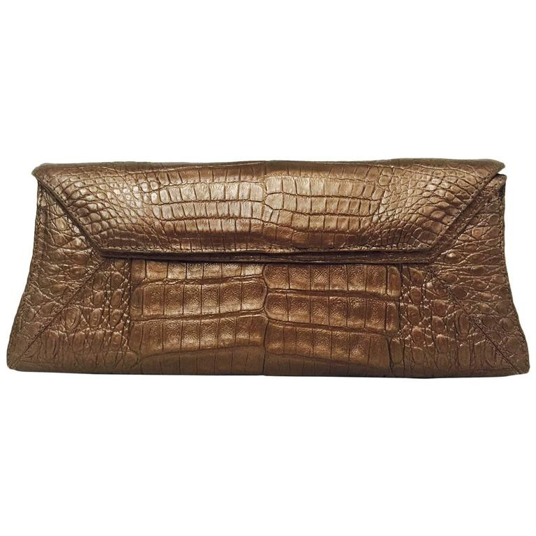 Nancy Gonzalez Metallic Bronze Crocodile Clutch For Sale ...