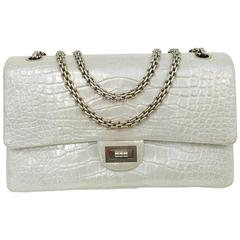 Chanel Metallic Silver Alligator 2.55 Reissue 226 Serial No. 14216118
