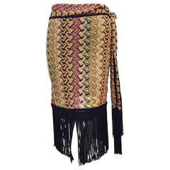 Missoni Multi Color Knit Straight Skirt With Tie and Dramatic Fringe Hem
