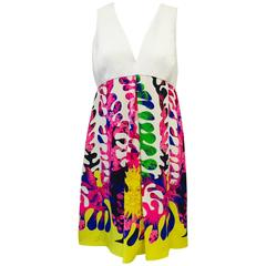 Versace Sleeveless V-Neck Empire Waist Silk Dress With Print Skirt