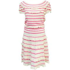 Christian Dior Ivory and Pink Lace Knit Short Sleeve Dress W Bateau Neckline