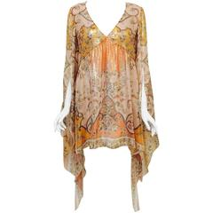 Emilio Pucci Print Silk Blend Lame Tunic Dress With Butterfly Wing Sleeves
