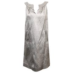 Alluring Alberta Ferretti Silver Metallic Crushed Silk Blend Shift With Beads