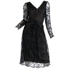 1980S BILL BLASS Black Silk Chiffon Pin Tucked & Pleated Cocktail Dress With Sh