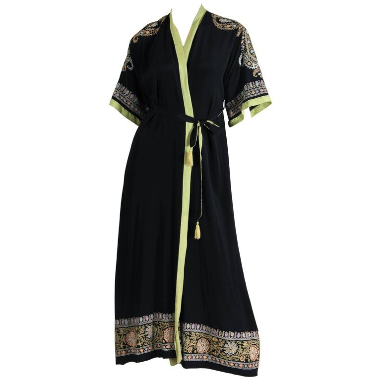 1930s Paisley embroidered Silk Robe Wrap Dress For Sale