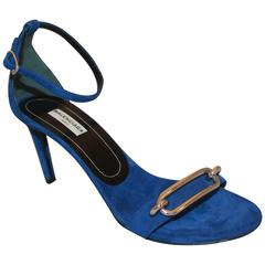 Balenciaga Electric Blue Suede Heels with Ankle Strap and Silver Buckle - 38.5