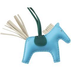Hermes Rodeo Bag Charm PM Blue Bleu Celeste Rodeo Horse