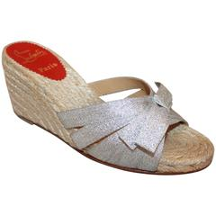 Christian Louboutin Beige Raffia Wedge with Silver Metallic Bow - 37