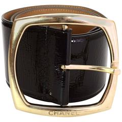 Chanel Black Patent Leather Extra Wide Belt sz 85