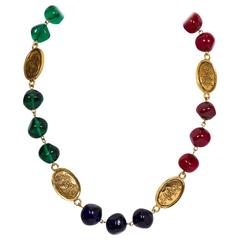 Chanel Tricolor Gripoix Coin Necklace
