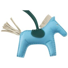 Hermes Rodeo Bag Charm MM Blue Celeste Malachite Craie Horse