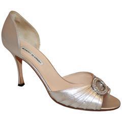 Manolo Blahnik Silver Metallic Leather Heels with Rhinestone Buckle - 41.5