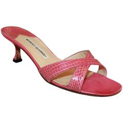 Manolo Blahnik Pink Croc Crisscross Slide with Heel - 38.5