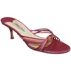 Jimmy Choo Purple and Coral Lizard Woven Slide Heels - 39