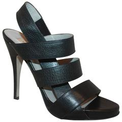 Valentino Black Leather Strappy Platform Heels - 37