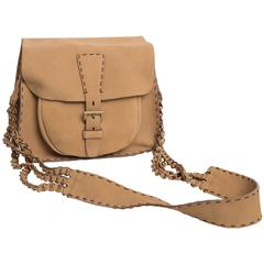Prada Vintage Tan Suede Saddle Style Shoulder Bag