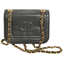 Chanel Vintage Lambskin Dark Green Flap Bag