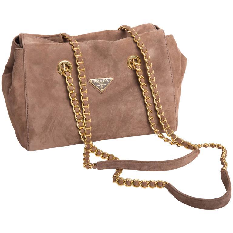 Prada Vintage Suede Double Chain Handle Shoulder Bag For