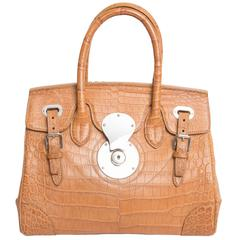 Ralph Lauren Matte Alligator Soft Ricky 27 Bag in Tan