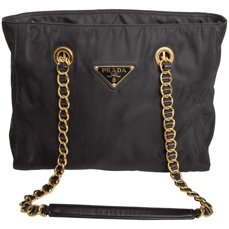 Prada Vintage Black Nylon Double Chain Handle Shoulder Bag