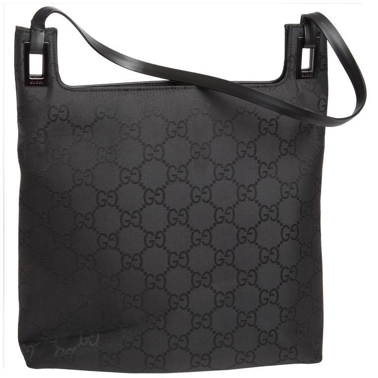 Gucci Vintage Black Logo Shoulder Bag For