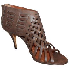 Givenchy Brown Woven Leather Sandal Bootie with Back Zipper - 40
