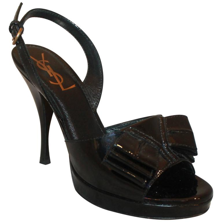 YSL Black Patent Platform Heels with Front Bow - 36