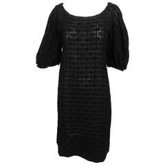 Marni heavily embroidered sheer black cotton day dress