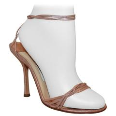 Jimmy Choo Rose Gold Woven Thin Strap Sandals w/ Ankle Strap - 37
