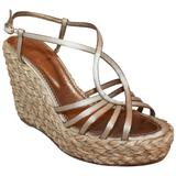 YSL Champagne Colored Satin Strappy Thick Straw Wedges - 41