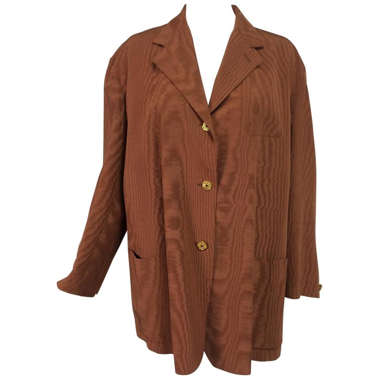 Romeo Gigli jewel button cocoa moire single breasted jacket vintage
