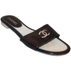 "Chanel Navy Patent Slides with Silver Textured ""CC"" Flat Sandals - 38"