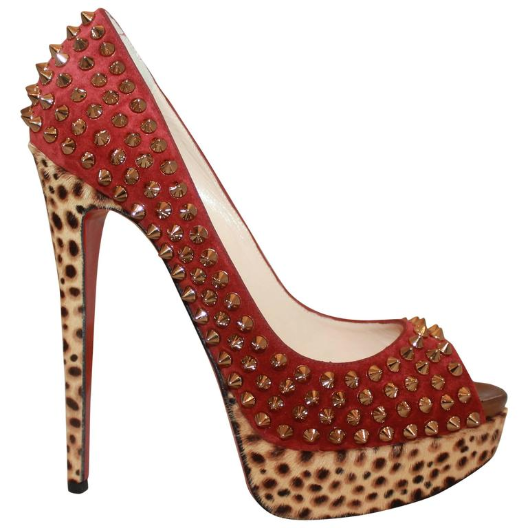 Louboutin Red Suede Spike & Leopard Print Pony Hair Platform Heels - 38 1