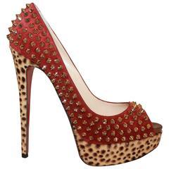 Louboutin Red Suede Spike & Leopard Print Pony Hair Platform Heels - 38
