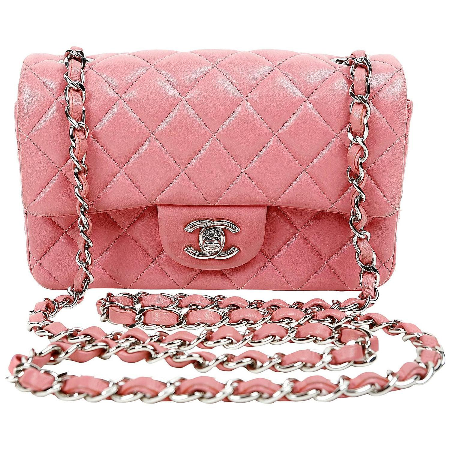 Chanel Raspberry Pink Lambskin Small Classic Flap Bag with Silver ... : pink quilted bag - Adamdwight.com