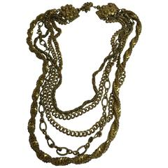 1950s MIRIAM HASKELL Antiqued Goldtone Multi-chain Necklace