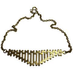 1930s Jacob Bengel Art Deco Machine Age Gold tone Brickwork Chain Necklace