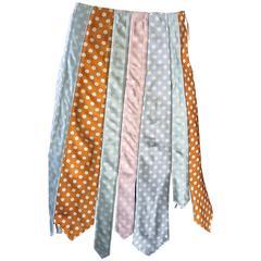 Rare 1990s Paul Smith Polka Dot ' Tie ' Asymmetrical Vintage A - Line Boho Skirt