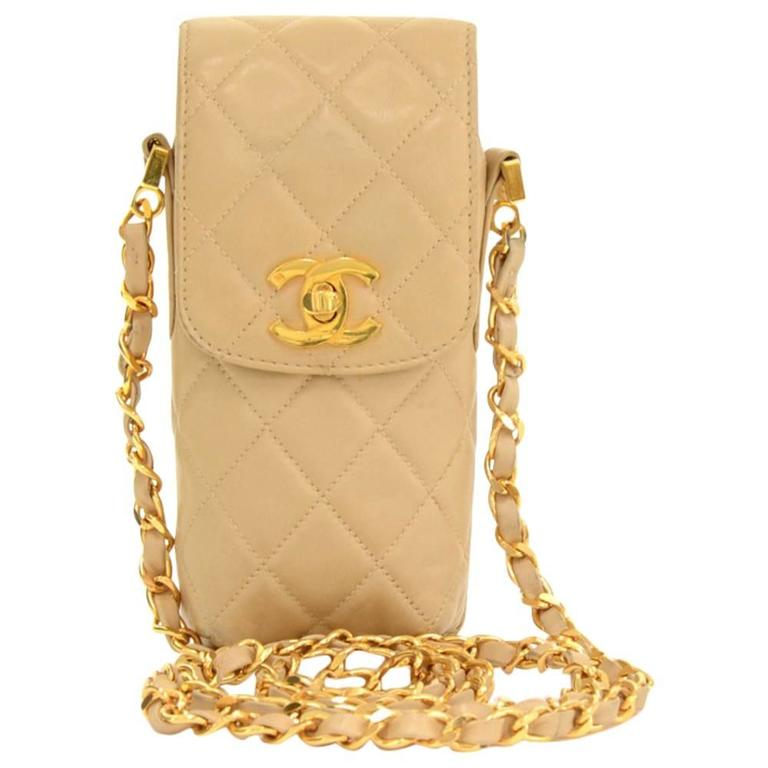 Chanel Beige Quilted Lambskin Leather Shoulder Case Bag