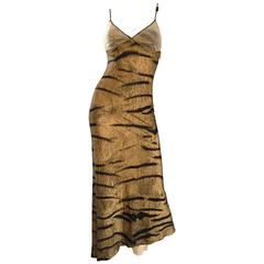 Vintage Roberto Cavalli Early 1990s Tiger Print High - Low Asymmetrical Dress