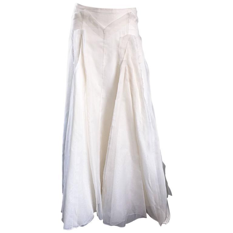 Vintage Carolina Herrera Ivory Silk Faille ' Patchwork ' Ball Evening Full Skirt