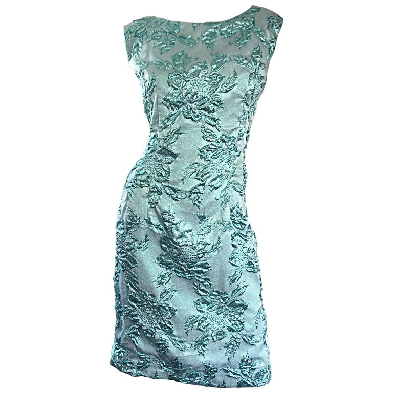 890b9086dcd Beautiful 1960s Light Blue Silk Metallic Lurex Teal Embroidered 50s Wiggle  Dress For Sale