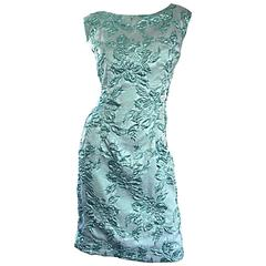 Beautiful 1960s Light Blue Silk Metallic Lurex Teal Embroidered 50s Wiggle Dress