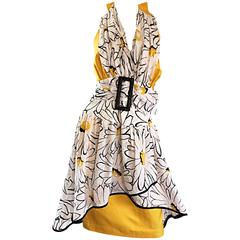 Avant Garde Vintage 80s Stephan Caras Black + Yellow + White Daisy Print Dress