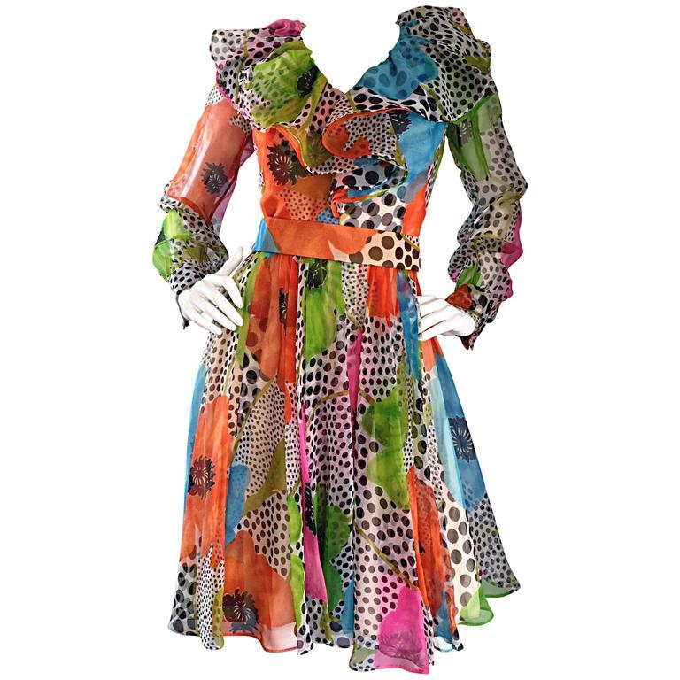 1970s Jack Bryan Chiffon Neon Flowers + Polka Dots Amazing Vintage Ruffle Dress For Sale