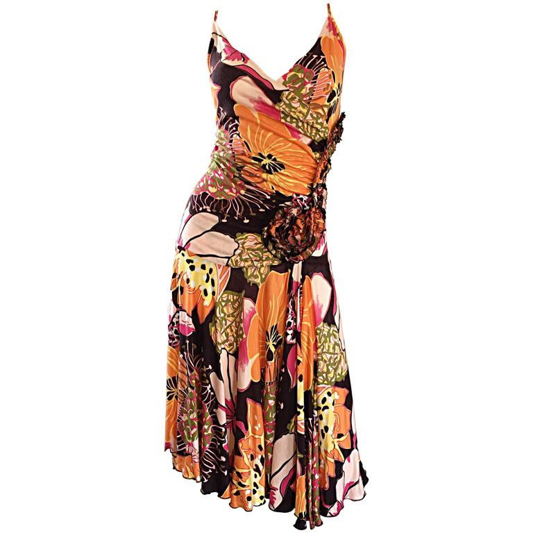 1990s Emanuel Ungaro Vintage Colorful Flower ' Origami ' Silk Jersey 90s Dress